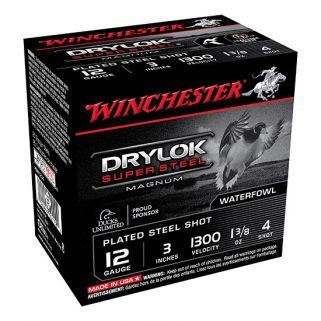 "Winchester Super-X Drylok Super Steel Magnum 12 Gauge 4 Shot 3"" 25 Round Box XSM1234"