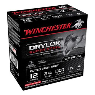 "Winchester Super-X Drylok Super Steel Magnum 12 Gauge 4 Shot 2.75"" 25 Round Box XSM124"