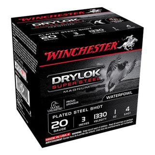 """Winchester Super-X Drylok Super Steel Magnum 20 Gauge 4 Shot 3"""" 25 Round Box XSM2034"""
