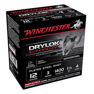 "Winchester Super-X Drylok Super Steel Magnum 12 Gauge 4 Shot 3"" 25 Round Box XSV1234"