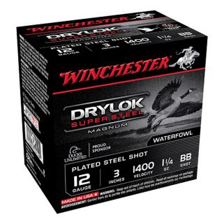 "Winchester Super-X Drylok Super Steel Magnum 12 Gauge BB Shot 3"" 25 Round Box XSV123BB"