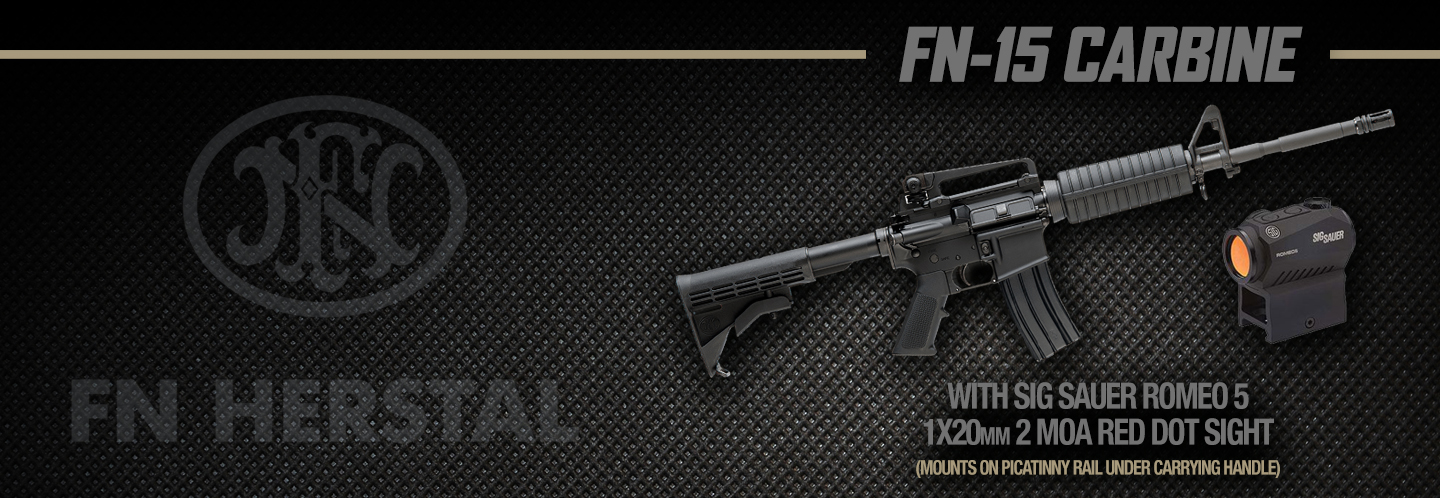 Save when you purchase this FN-15 Carbine package that includes a Sig Sauer Romeo 5 red dot optic!