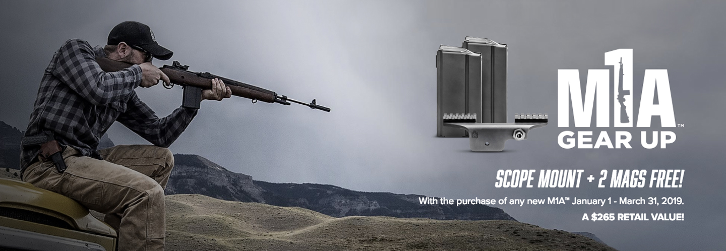 Purchase a Springfield M1A now through March 31st, 2019 and receive 2 Mags + Scope Mount FREE! $265 Retail Value!