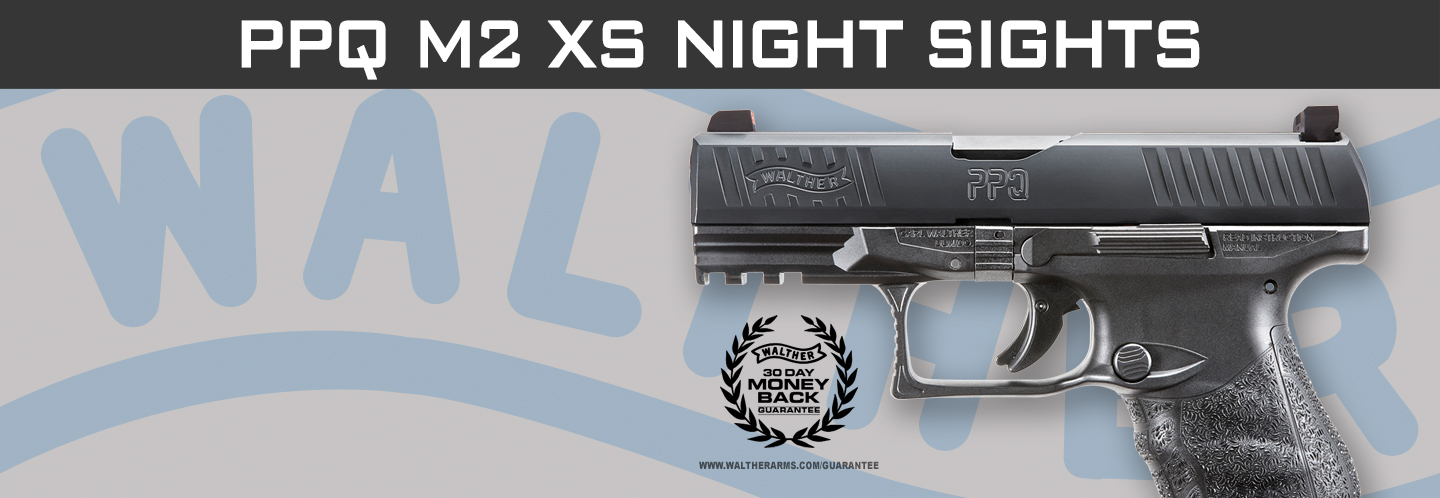 This PPQ M2 model is a new variant including XS night sight front and black notch rear.